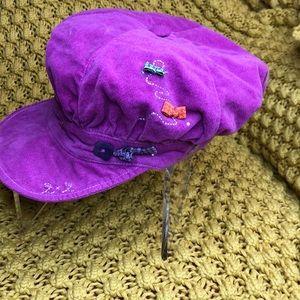 deux par deux magenta velour newsboy hat size 8
